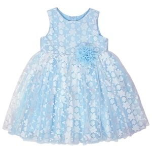 NWT Popatu Girls Blue Sleeveless Floral Dress